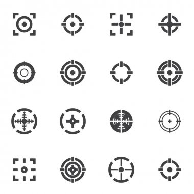 Target and Crosshair vector icons set, modern solid symbol collection, filled style pictogram pack. Signs, logo illustration. Set includes icons as sniper target, crosshair aim icon