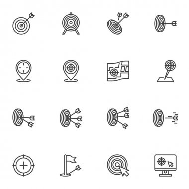 Archery target line icons set, outline vector symbol collection, linear style pictogram pack. Signs, logo illustration. Set includes icons as target with arrow, goal map pin, crosshair aim icon