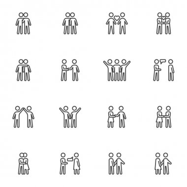 Relationship and friendship line icons set, outline vector symbol collection, linear style pictogram pack. Signs, logo illustration. Set includes icons as people handshake, couple love, man and woman icon