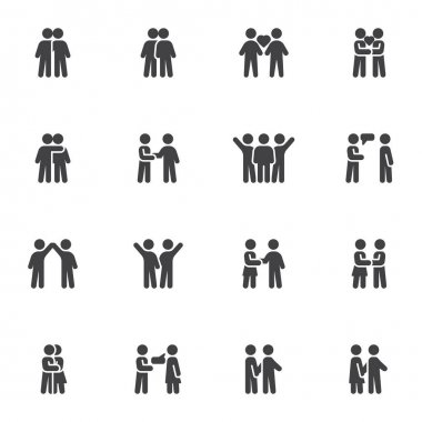 Relationship and friendship vector icons set, modern solid symbol collection, filled style pictogram pack. Signs, logo illustration. Set includes icons as people handshake, couple love, man and woman icon