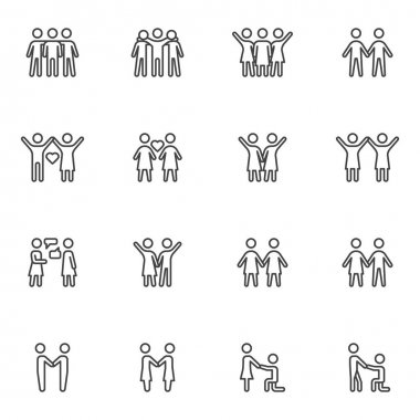 Friendship and love line icons set, outline vector symbol collection, linear style pictogram pack. Signs, logo illustration. Set includes icons as people love, couple relationship, marriage proposal icon