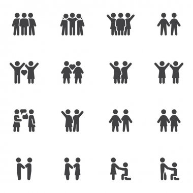 Friendship and love vector icons set, modern solid symbol collection, filled style pictogram pack. Signs, logo illustration. Set includes icons as people love, couple relationship, marriage proposal icon