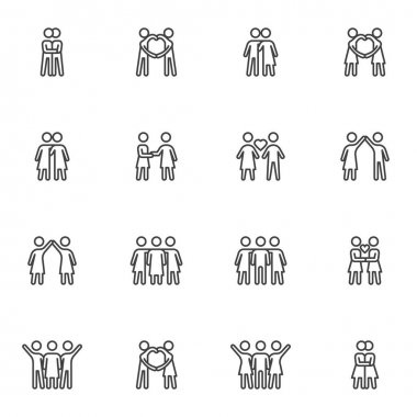 Love and friendship line icons set, outline vector symbol collection, linear style pictogram pack. Signs, logo illustration. Set includes icons as people relationship, man and woman couple, lovers icon