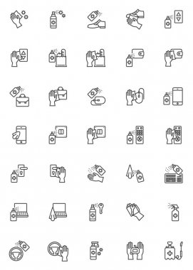 Disinfection, sanitize line icons set. Coronavirus prevention linear style symbols collection, outline signs pack. vector graphics. Set includes icons as sanitizer spray bottle, medical antibacterial icon