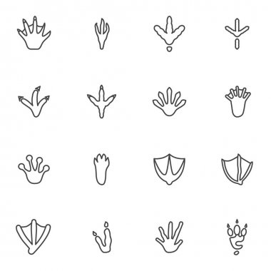 Bird and Animal paw print line icons set, outline vector symbol collection, linear style pictogram pack. Signs, logo illustration. Set includes icons as crocodile paw print, crow, chicken, turkey icon