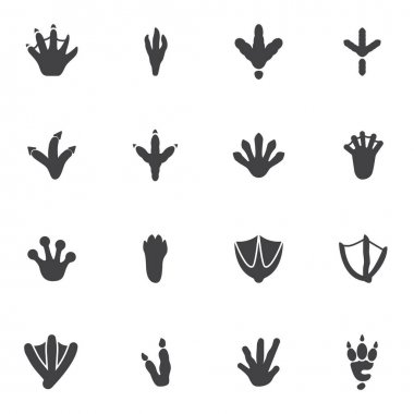 Bird and Animal paw print vector icons set, modern solid symbol collection, filled style pictogram pack. Signs, logo illustration. Set includes icons as crocodile paw print, crow, chicken, turkey icon