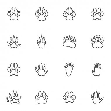 Animals paw print line icons set, outline vector symbol collection, linear style pictogram pack. Signs, logo illustration. Set includes icons as badger animal footprint, wolf, dog, hedgehog, tiger icon