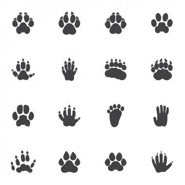 Animals paw print vector icons set, modern solid symbol collection, filled style pictogram pack. Signs, logo illustration. Set includes icons as badger animal footprint, wolf, dog, hedgehog, tiger icon