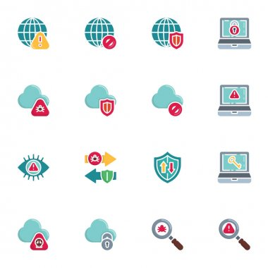 Data protection elements collection, cyber security flat icons set, Colorful symbols pack contains - infected cloud computing, laptop password, security shield . Vector illustration. Flat style design icon