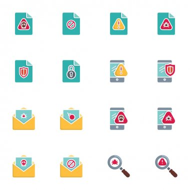 Data protection and cyber security elements collection, flat icons set, Colorful symbols pack contains - document file with virus bug, malware spider security. Vector illustration. Flat style design icon