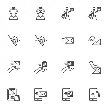 Post delivery line icons set, outline vector symbol collection, linear style pictogram pack. Signs, logo illustration. Set includes icons as courier delivery box, email, cargo shipping, online message icon