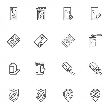 Medicine drug line icons set, outline vector symbol collection, linear style pictogram pack. Signs logo illustration. Set includes icons as medical pill and glass of water, pharmaceutical blister pack icon