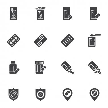 Medicine drug vector icons set, modern solid symbol collection, filled style pictogram pack. Signs logo illustration. Set includes icons as medical pill and glass of water, pharmaceutical blister pack icon