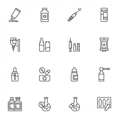 Medical treatment line icons set, outline vector symbol collection, linear style pictogram pack. Signs, logo illustration. Set includes icons as medicine drugs, vaccine syringe, blood transfusion bag icon
