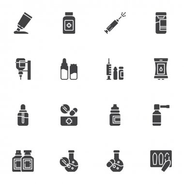 Medical treatment vector icons set, modern solid symbol collection, filled style pictogram pack. Signs, logo illustration. Set includes icons as medicine drugs, vaccine syringe, blood transfusion bag icon