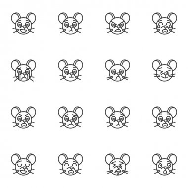 Mouse emoji line icons set, outline vector symbol collection, linear style pictogram pack. Signs, logo illustration. Set includes icons as crying smiley face, happy mouse emotion, angry, sleeping icon