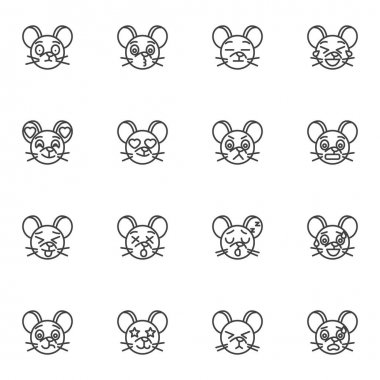Mouse emoji line icons set, outline vector symbol collection, linear style pictogram pack. Signs, logo illustration. Set includes icons as smiley with heart eyes, angry mouse face emotion icon