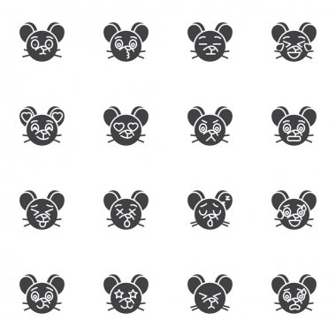 Mouse emoji vector icons set, modern solid symbol collection, filled style pictogram pack. Signs, logo illustration. Set includes icons as smiley with heart eyes, angry mouse face emotion icon