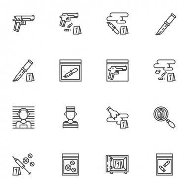 Criminal evidence line icons set, outline vector symbol collection, linear style pictogram pack. Signs, logo illustration. Set includes icons as pistol gun, knife with blood, fingerprint, prisoner icon