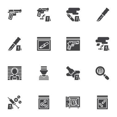 Criminal evidence vector icons set, modern solid symbol collection, filled style pictogram pack. Signs, logo illustration. Set includes icons as pistol gun, knife with blood, fingerprint, prisoner icon