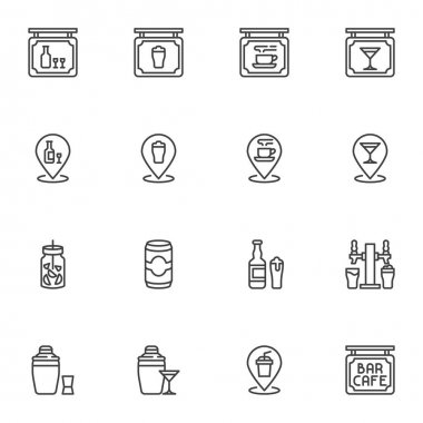Cafe bar related line icons set, outline vector symbol collection, linear style pictogram pack. Signs, logo illustration. Set includes icons as pub drinks, alcoholic beverages, restaurant signboard icon