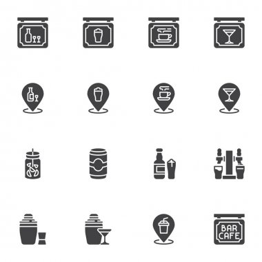 Cafe bar related vector icons set, modern solid symbol collection, filled style pictogram pack. Signs, logo illustration. Set includes icons as pub drinks, alcoholic beverages, restaurant signboard icon