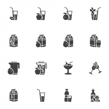 Soft drinks vector icons set, modern solid symbol collection, filled style pictogram pack. Signs, logo illustration. Set includes icons as smoothie, fruit juice pack, water glass, cocktail icon