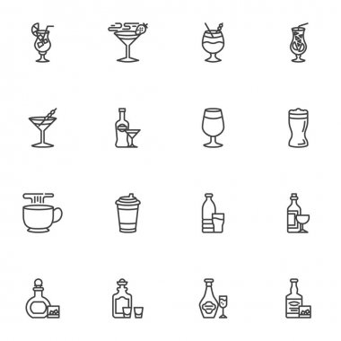Bar beverages line icons set, outline vector symbol collection, linear style pictogram pack. Signs, logo illustration. Set includes icons alcoholic drinks, cocktail glass, hot coffee cup, wine bottle icon