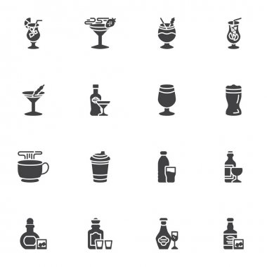 Bar beverages vector icons set, modern solid symbol collection, filled style pictogram pack. Signs, logo illustration. Set includes icons as alcoholic drinks, cocktail glass, hot coffee cup, wine icon