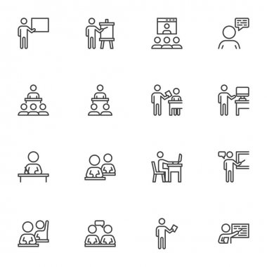 Business training line icons set, outline vector symbol collection, linear style pictogram pack. Signs, logo illustration. Set includes icons as business people presentation, conference meeting icon