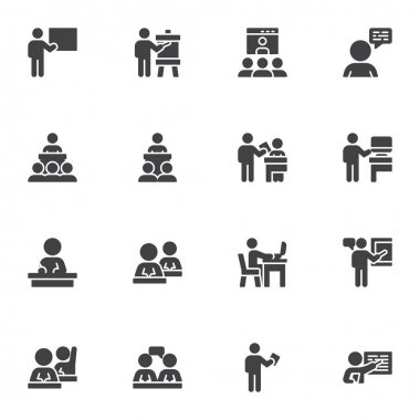 Business training vector icons set, modern solid symbol collection, filled style pictogram pack. Signs, logo illustration. Set includes icons as business people presentation, conference meeting icon