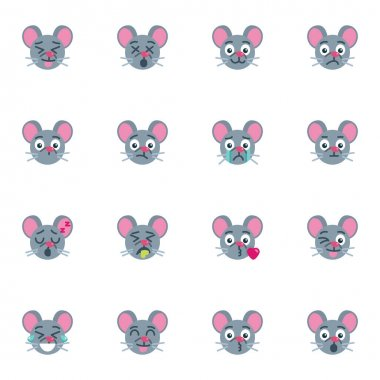 Mouse emoji collection, flat icons set, Colorful symbols pack contains - mouse emoticon, smiling face, happy mood expression, blowing kiss, winking eye . Vector illustration. Flat style design icon