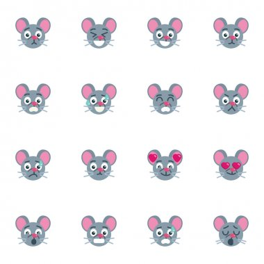 Mouse emoticon collection, flat icons set, Colorful symbols pack contains - mouse emoji, angry face, confused, shocked expression, smiling, happy, upset . Vector illustration. Flat style design icon