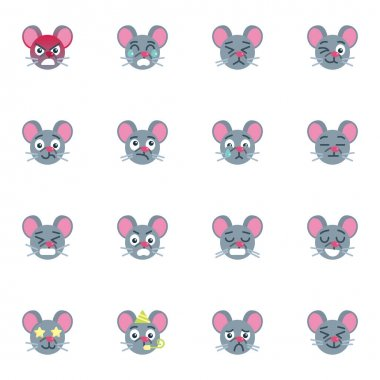 Mouse emoji collection, flat icons set, Colorful symbols pack contains - angry mouse face, crying emoticon, sleeping, tired, happy. Vector illustration. Flat style design icon