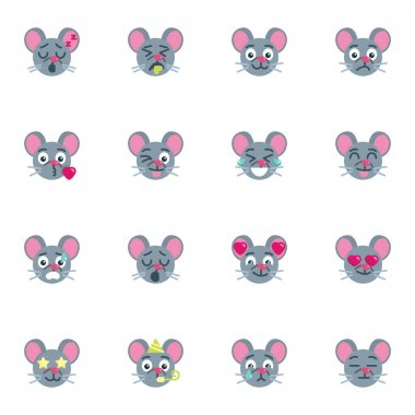 Mouse emoticon collection, flat icons set, Colorful symbols pack contains - happy smiley face, sleeping eyes, crying emoji. Vector illustration. Flat style design icon