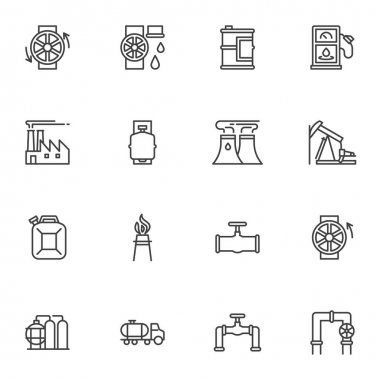 Oil industry line icons set, outline vector symbol collection, linear style pictogram pack. Signs, logo illustration. Set includes icons as refinery factory chimney, oil pump, gas station, gas pipe icon