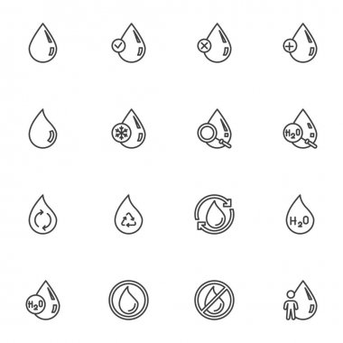 Water drop line icons set, outline vector symbol collection, linear style pictogram pack. Signs, logo illustration. Set includes icons as blood Drop, raindrop, pure droplet icon