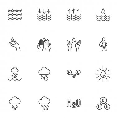 Water related line icons set, outline vector symbol collection, linear style pictogram pack. Signs, logo illustration. Set includes icons as raindrop, washing hands, h2o chemical formula, cloud rain icon