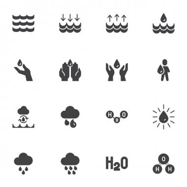 Water related vector icons set, modern solid symbol collection, filled style pictogram pack. Signs, logo illustration. Set includes icons as raindrop, washing hands, h2o chemical formula, cloud rain icon