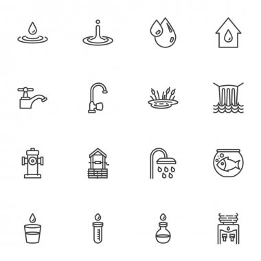 Water line icons set, outline vector symbol collection, linear style pictogram pack. Signs, logo illustration. Set includes icons as water tap, dew droplet, oil drop, waterfall, shower, test tube icon