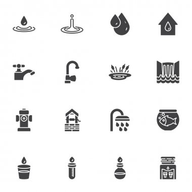 Water vector icons set, modern solid symbol collection, filled style pictogram pack. Signs, logo illustration. Set includes icons as water tap, dew droplet, oil drop, waterfall, shower, test tube icon