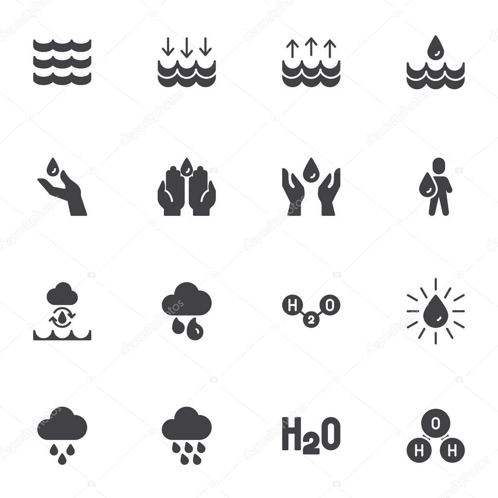 Water related vector icons set  modern solid symbol collection  filled style pictogram pack icon
