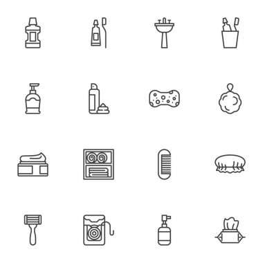 Personal Hygiene line icons set, outline vector symbol collection, linear style pictogram pack. Signs, logo illustration. Set includes icons as mouthwash, toothpaste, soap, sponge, cream, shave foam icon