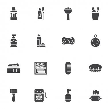 Personal Hygiene vector icons set, modern solid symbol collection, filled style pictogram pack. Signs, logo illustration. Set includes icons as mouthwash, toothpaste, soap, sponge, cream, shave foam icon