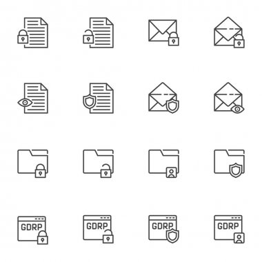 Data protection line icons set, outline vector symbol collection, linear style pictogram pack. Signs, logo illustration. Set includes icons as GDPR privacy, document folder protection, email security icon