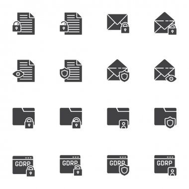 Data protection vector icons set, modern solid symbol collection, filled style pictogram pack. Signs, logo illustration. Set includes icons as GDPR privacy, document folder protection, email security icon