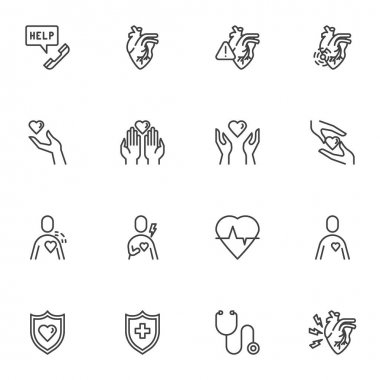 Heart health line icons set, outline vector symbol collection, linear style pictogram pack. Signs, logo illustration. Set includes icons as heart attack, charity hand, medical stethoscope, cardiology icon