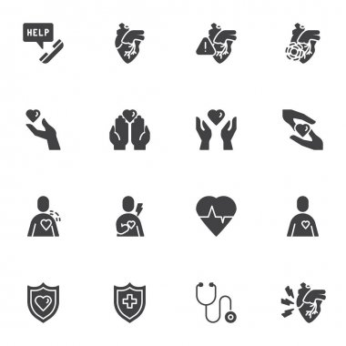 Heart health vector icons set, modern solid symbol collection, filled style pictogram pack. Signs, logo illustration. Set includes icons as heart attack, charity hand, medical stethoscope, cardiology icon