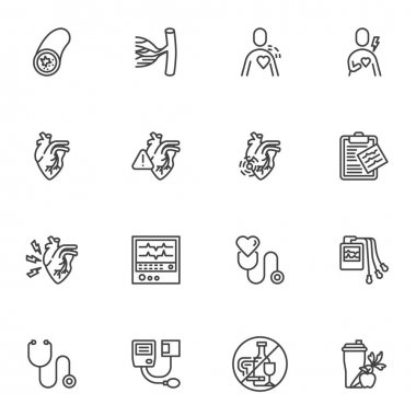 Heart disease line icons set, outline vector symbol collection, linear style pictogram pack. Signs, logo illustration. Set includes icons as medical diagnostic, ecg monitor, heartbeat cardiogram icon
