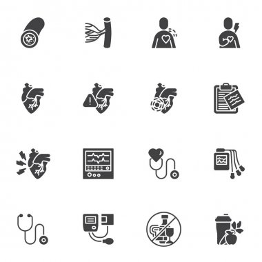 Heart disease vector icons set, modern solid symbol collection, filled style pictogram pack. Signs, logo illustration. Set includes icons as medical diagnostic, ecg monitor, heartbeat cardiogram icon